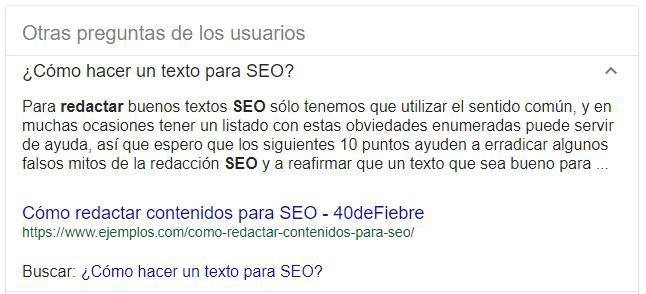 Ejemplo de pregunta y respuesta de Google