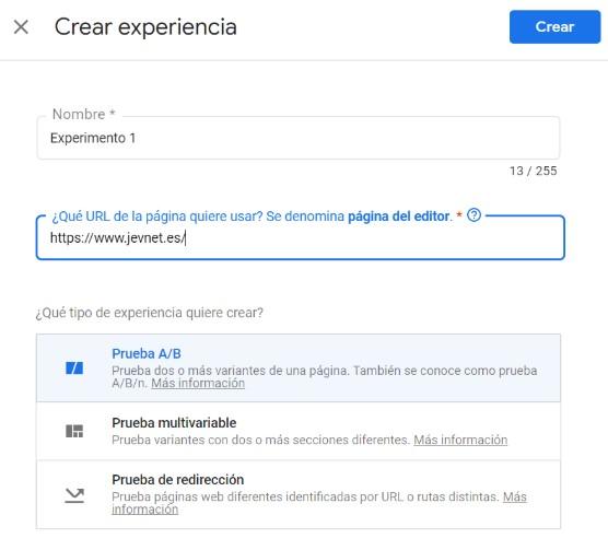 Crear experiencia Google optimize