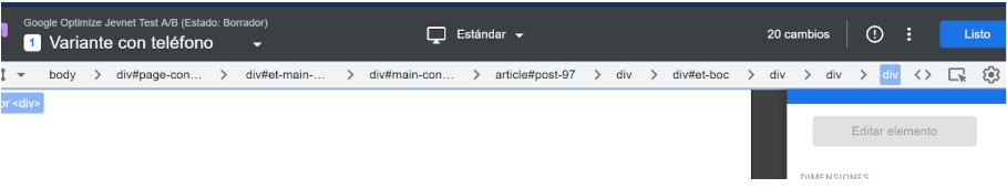 Editor de página Google optimize