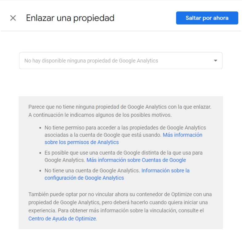 Enlazar una propiedad de Google Analytics