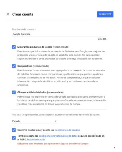 crear cuenta google optimize